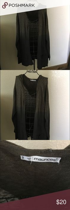 Perfect for Spring & cool Summer nights open cardi Perfect for Spring & cool Summer nights open cardi. Ombré brown into black. Lightweight and hooded. Maurice's sz 3 never worn! Maurices Sweaters Cardigans