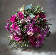 Bespoke Bouquets | Zita Elze Flowers  amethyst and pink blooms including ranunculus, spray roses, tulips and mixed foliage