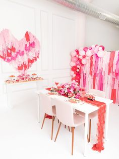 Tips for throwing a galentine's day party from One Stylish Party. Valentines Day Party, Valentines Day Decorations, Be My Valentine, Balloon Garland, Balloons, Custom Cookies, Craft Party, Holiday Parties, Party Planning