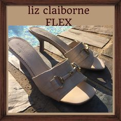 "Liz Claiborne Flex slides, sandals Nice summer slide sandal in creme with a very comfortable 2.5-3"" heel. It's the ""Flex"" line, so you know it's made for comfort as well as looks. Shoes have been worn, although not often. The portion that extends over the foot seems slightly dirty, so I think they would benefit from a thorough cleaning. Also, the lining of the footbed seems like it's trying to come up, although it has not. If it is pulled at, I think it easily will. Heel and sole are…"