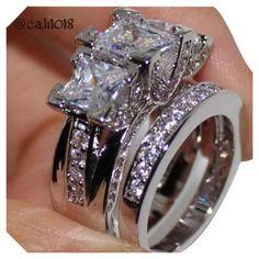 Square Princess Cut 3 Stone Engagement Wedding Ring Sets In 925 Sterling silver Princess Cut Engagement Rings, Engagement Wedding Ring Sets, Engagement Jewelry, Big Wedding Rings, Wedding Bands, Wedding Jewellery Gifts, Ring Verlobung, Beautiful Rings, Opal