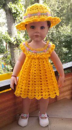 Crochet Amigurumi Doll Dress American Girls New Ideas Crochet Doll Dress, Crochet Doll Clothes, Girl Doll Clothes, Barbie Clothes, American Girl Crochet, American Girls, Doll Dress Patterns, American Doll Clothes, Baby Knitting Patterns