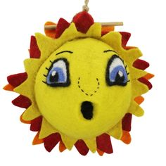 #Sunshine Felt Birdhouse.  Yes! It can be hung outside as well as inside! Fun and functional as a decorative item or experimental habitat. It's made of naturally water repellant, hand felted wool. When it does get wet (mainly on the exterior) it will quickly dry. Wool is also naturally dirt resistant. Made with other sustainably harvested materials including a braided natural hemp hanging cord and a bamboo perch.
