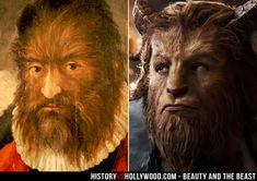 Petrus Gonsalvus (left), the inspiration for Dan Stevens as Beast in Disney's live-action Beauty and the Beast movie. Learn more about the real story here: http://www.historyvshollywood.com/reelfaces/beauty-and-the-beast/