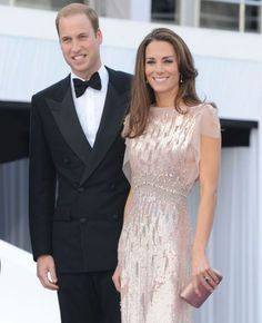HRH Duchess of Cambridge, aka Princess Kate, wearing a gorgeous soft pink gown by Jenny Packham