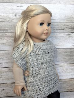 DIY Crochet Pattern  18 inch Doll Pullover Button Wrap PDF 28
