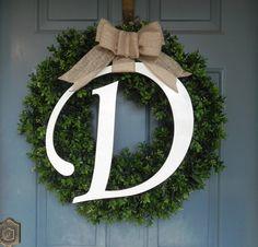 Boxwood Wreath With Monogram -25''  - LARGEST BOXWOOD on ETSY - Summer Wreath Spring Wreath