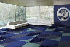 Geometric patterns used in #hotel or #airport lounge areas create stylish designs. This range uses #Interface carpet tiles - Bisanzio Artemis, Mellopolis Urbis and Monochrome Danube, Surf, Lobelia