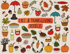 Hand Drawn Thanksgiving Clip Art. Doodle Fall by PixelGardenDesign