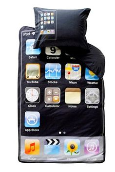 I used to dream of someday owning an iPhone, but really? Bedding? Hmm... where can I get it? (Just kiddin'...)