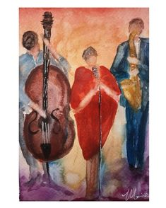 "C h e r y l M o r r i c e on Instagram: ""'Make it happen' 💋 Watercolour 10x8 "". . . . . . . . . . #watercolor #watercolorpainting #watercolour #jazz #watercolour #art…"" Watercolour Art, Make It Happen, Cheryl, Jazz, Shit Happens, How To Make, Instagram, Jazz Music"