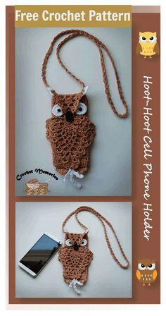 Our cute cell phone holder boasts a pineapple owl that's stylish and fun. Two big eyes under a hooded flap and nose button will delight all. Slight customization instructions are included. Crochet Owls, Crochet Purses, Love Crochet, Crochet Crafts, Crochet Projects, Crochet Patterns, Crochet Animals, Diy Crafts, Crochet Phone Cover