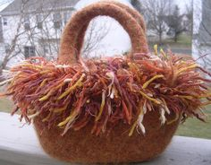 Felted Purse and Decorative Frizzle  Trim by felting4you on Etsy, $30.00