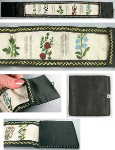 """Antique Embroidered Silk Sewing Needle Roll Circa 1870   eBay seller elegantarts, English, 19"""" x 2-5/8"""", button at one end"""