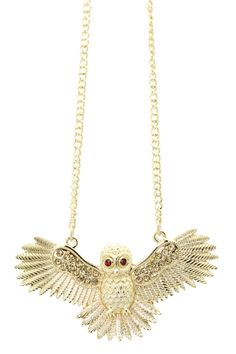 Owl Necklace.. Very rarely see one with spread wings, awesome