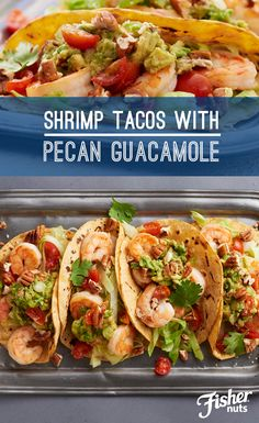 Talk about a show-stopping main course! Try making these Shrimp Tacos with Pecan Guacamole for a fresh summer dish everyone will love. Fisher Pecan Halves add a nutty spin to traditional guacamole. Recipe courtesy of Alex Guarnaschelli.