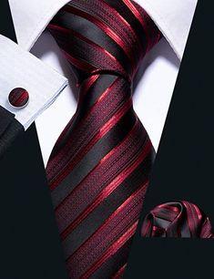 New Wedding Men Tie Red Striped Fashion Designer Ties For Men Business Groom Tie Kravat Set Fashion, Style Fashion, Fashion Black, Fashion Tips, Fasion, Fashion Fashion, Paisley, Tie And Pocket Square, Pocket Squares