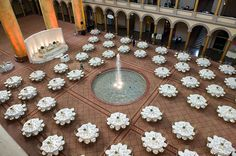 white and gold walima wedding stage (with beads) at the national building museum in washington, DC. stage by prabha bhambri at http://nivanjoli.com