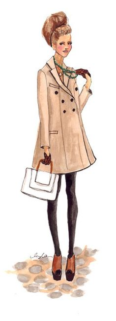 #InsleeHaynes beautiful fashion illustrations are lovely.  This illustration makes me long for rain and a hot latte.