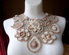 15% discount to my #etsy shop: Wedding Bib Necklace, Her Statement Bib, Boho Bridal Bib, Flower Wedding Bib, Crochet Bridal Bib, Best Bridal Bib, Her Bridal Choker Bib http://etsy.me/2jQxMLP #jewellery #necklace #beige #wedding #white #tie #girls #yes #floral