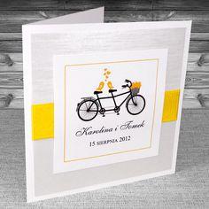 Zaproszenia z rowerem - Zaproszenia Rower 2 z żółtą wstążką