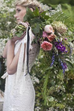 fresh flowers ferns in a bouquet