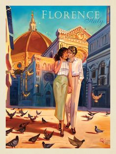Kai Carpenter: Florence Fling - This series of romantic travel art is made from . - Kai Carpenter: Florence Fling – This series of romantic travel art is made from original oil pain - Retro Poster, Art Deco Posters, Vintage Travel Posters, Photo Vintage, Vintage Art, Vintage Italy, Vintage Ideas, Kunst Poster, Travel Design