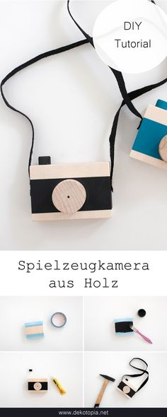 DIY Anleitung: Spielzeugkamera aus Holz selber machen DIY tutorial and video tutorial: I'll show you how to make a cool toy camera for kids! Tetra Pack, Tutorial Diy, Wood Crafts, Diy And Crafts, Diy Bebe, Toy Camera, How To Make Toys, Diy Holz, Wood Toys