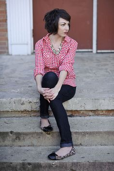 THIS cut!  : ) and LOVE LOVE THE GINGHAM SHIRT.  I also like how she added a statement necklace in for some bling.