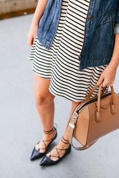 striped dress + lace-up flats