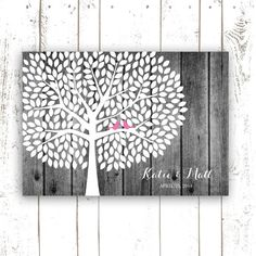 Rustic Wedding Guest Book, Wood Guest Book Tree for 300 Guests, Pink Wedding, Personalized Wedding Print