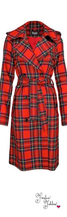 Dolce & Gabbana Red Plaid Trench