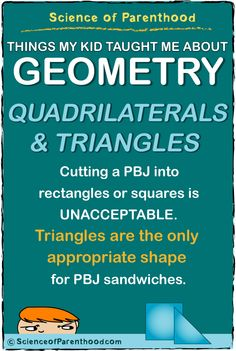 Science of Parenthood's What My Kid Taught Me About Geometry: Cutting a PBJ into rectangles or squares is UNACCEPTABLE. Triangles are the only appropriate shape for PBJ sandwiches. #pickyeater #mathhumor #kidfood