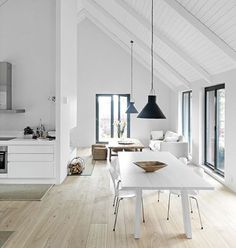 Pitched Roofing + Wooden Beams - The Design Chaser. home decor and interior decorating idea. Deco Design, Küchen Design, House Design, Design Ideas, Blog Design, Style At Home, Sweet Home, Home And Deco, Home Fashion