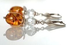 Dangle Amber Earrings Fine Honey Baltic Stone Egg Beads Swarovski Crystal Silver 925 Details Amber Jewelry