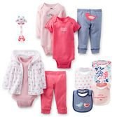 Dress her up in Precious Prints. For going out these 3-piece sets and bibs are easy to wear. Cute paci clip will make her happy too!