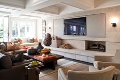 Mix and Chic: Cool designers alert- David Powell and Fenwick Bonnell! Living Room Lounge, Home Living Room, Living Room Decor, Living Spaces, Home Theater, Off Center Fireplace, Family Room Fireplace, Fireplace Hearth, Fireplace Ideas
