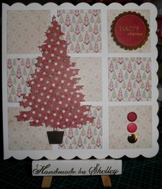 'Seasonal Tree' by Die'sire (Crafter's Companion). 'Jingle' paper pad by Lily Bee Design. Greeting by Craftwork Cards.
