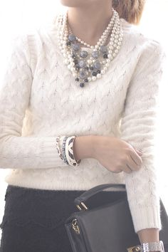 well-fitting cable knit sweater + lace pencil skirt + layers of jewelry + structured handbag