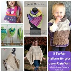 A second helping of 8 more FREE patterns using Caron Cakes Yarn.