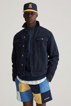 Aimé Leon Dore's Collection is Riviera-Ready: With collegiate elements and workwear looks contrasting the pastel tones. Men Street, Street Wear, Hiphop, Balenciaga, Jumper, Aime Leon Dore, Work Jackets, Denim Jackets, Lookbook