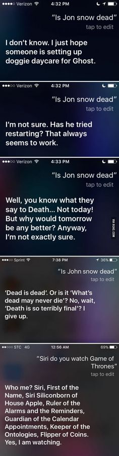 "Ask Siri, ""Is Jon Snow dead"""