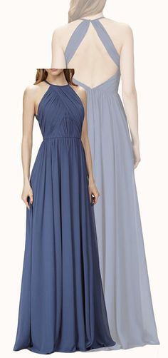 MACloth Halter O Neck Chiffon Long Bridesmaid Dress Navy Formal Gown