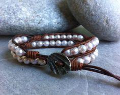 Freshwater Potato Pearl Double Wrap Bracelet, Pearl Bracelet, White Pearl Bracelet, Leather Pearl Bracelet