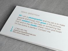 Type-only businesscards for a photographer
