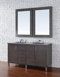 "60 inch Oak Finish Double Sink Bathroom Vanity Optional Tops. The bathroom cabinets may also be wall mounted, for a ""floating"" vanity look. http://www.listvanities.com/floating-vanities.html Heavy-duty brackets for wall mounting are included with the cabinet. This series looks very striking with out new Quartz solid-surface tops and rectangular basins."