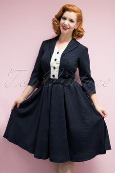 Miss Candyfloss TopVintage Exclusive Navy Pinstripe Swing Dress 102 39 19339 model04W