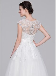 A-Line/Princess Sweetheart Tea-Length Ruffle Beading Appliques Lace Sequins Zipper Up Covered Button Cap Straps Sleeveless Hall Reception General Plus No Spring Summer Fall Ivory Tulle Wedding Dress