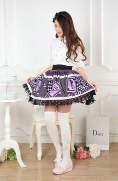 Lace Purple Customized Knee-length Sweet Lolita Pleated Skirt with Guardian Angels Prints Lolita Fashion $57.50 #Lovejoynet #Lolita #Dress