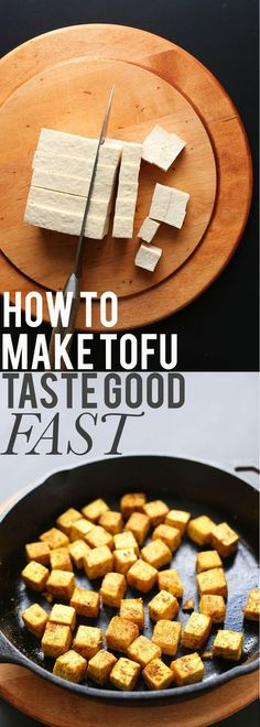 HOW TO Make Tofu Taste Good FAST in 20 minutes! A special method crisps it up WITHOUT FRYING! The fastest, easiest way to make crispy tofu for any dish. Just 4 ingredients and 25 minutes required! Perfect for adding to stir fries, curries and more! Veggie Recipes, Whole Food Recipes, Vegetarian Recipes, Healthy Recipes, Quick Recipes, Recipes Dinner, Simple Tofu Recipes, Tufu Recipes, Good Vegan Recipes